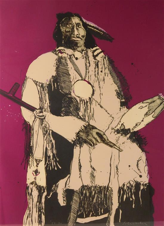 Fritz Scholder (Native American, 1937-2005) lithograph, male figure holding a pipe, signature and edition number both appear on lowe...