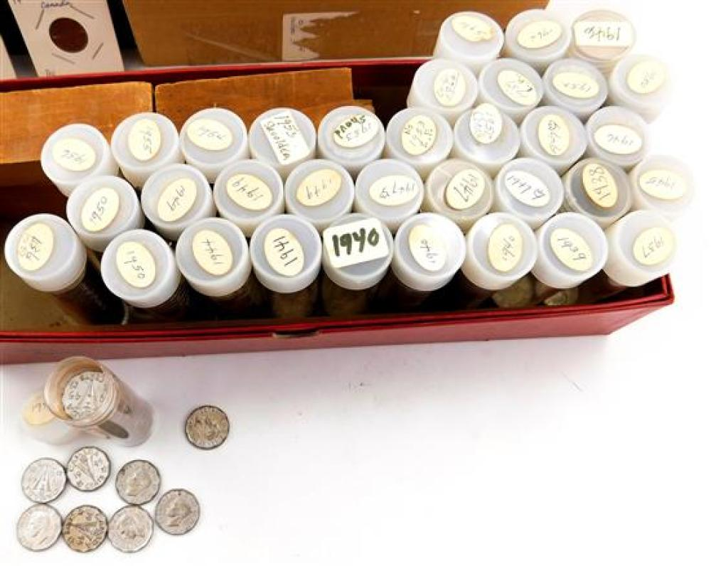 COINS: Approximately 350 Canadian Nickels, 1922-1975 (G-UNC), including nickels in tube by year 1937-1979, along with some Canadian...