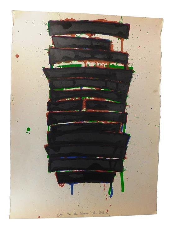 """Aris Koutroulis (Greece/America, 1938-2013), """"For the Winner"""", silkscreen with carborundum, 1982, Ed: Unknown, this impression inscr..."""