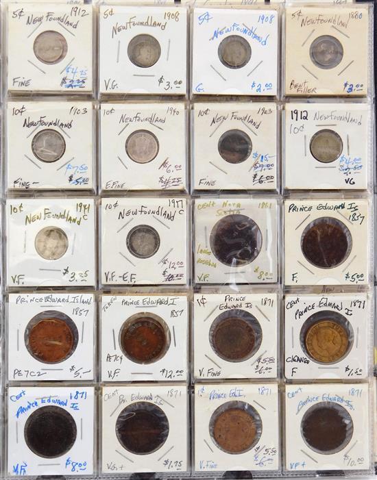COINS: Coins from various Canadian provinces, over 100 coins, including Nova Scotia, Newfoundland, Prince Edward Island, New Brunswi...