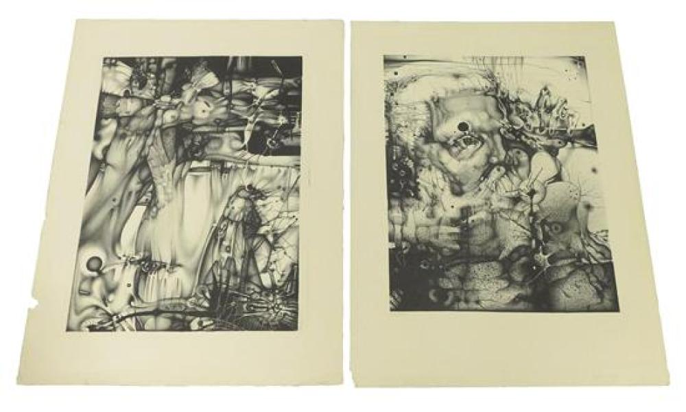 Thriteen contemporary American prints, six loose and seven in portfolio, including silkscreens and lithographs by Gerry Kreger 59th...
