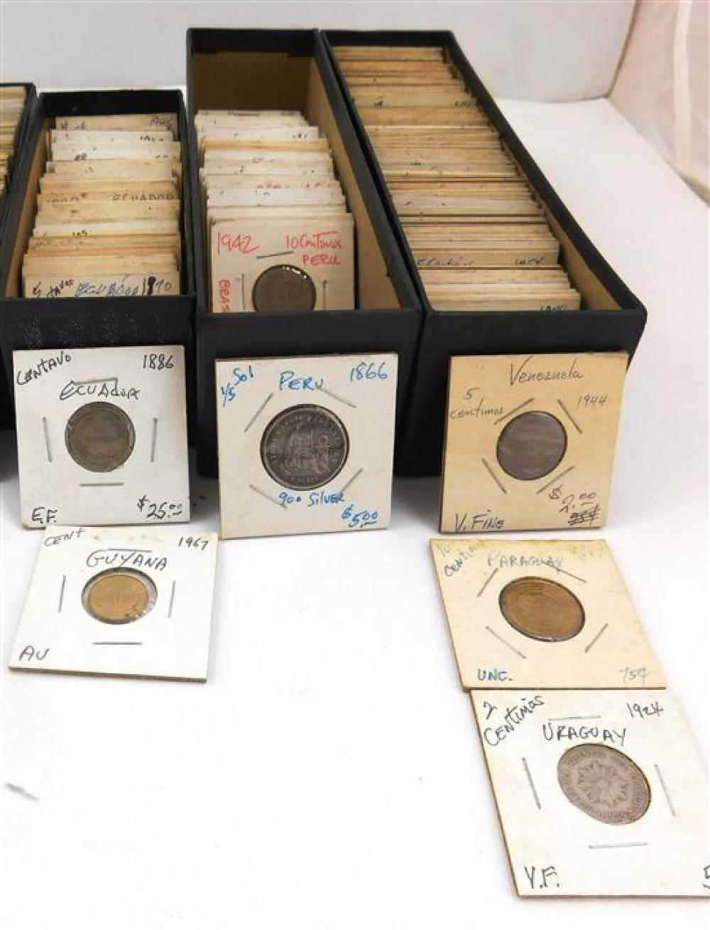COINS: Approximately 400 to 550 South and Central American coins, including: Panama, Argentina, Peru, Brazil, etc., early 1800s to 1...