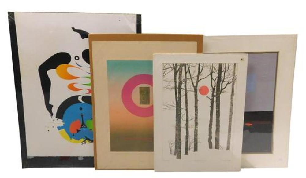 """Four modern prints: Edward Girard, """"Madonna"""" color aquatint, c. 1975, signed with pencil lower right, titled with pencil lower cente..."""