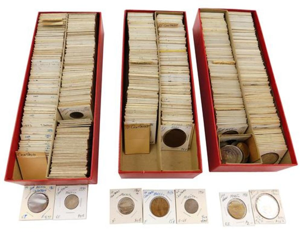 COINS: Approximately 450-550 Mexican coins, starts with early 1800s into 1970, 1/4 Real to 100 pesos, good amount of silver (.720, ....