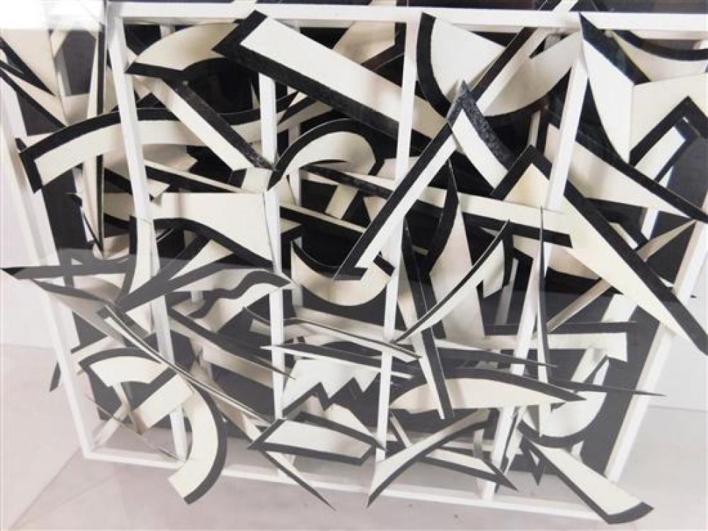"""Werner Pfeiffer (German/American, b. 1937), """"Connections"""", 1988, three-dimensional construction with black charcoal on white paper i..."""