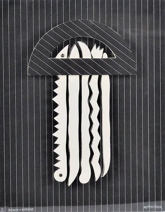 """Werner Pfeiffer (German/American, b. 1937), """"Black and White"""", 1980, three-dimensional mixed media construction of etching, collage,..."""