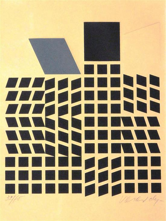 Victor Vasarely (French, 1906-1997), silkscreen, c. 1975, only state, ed. 32/75, black abstract geometric composition with many bloc...