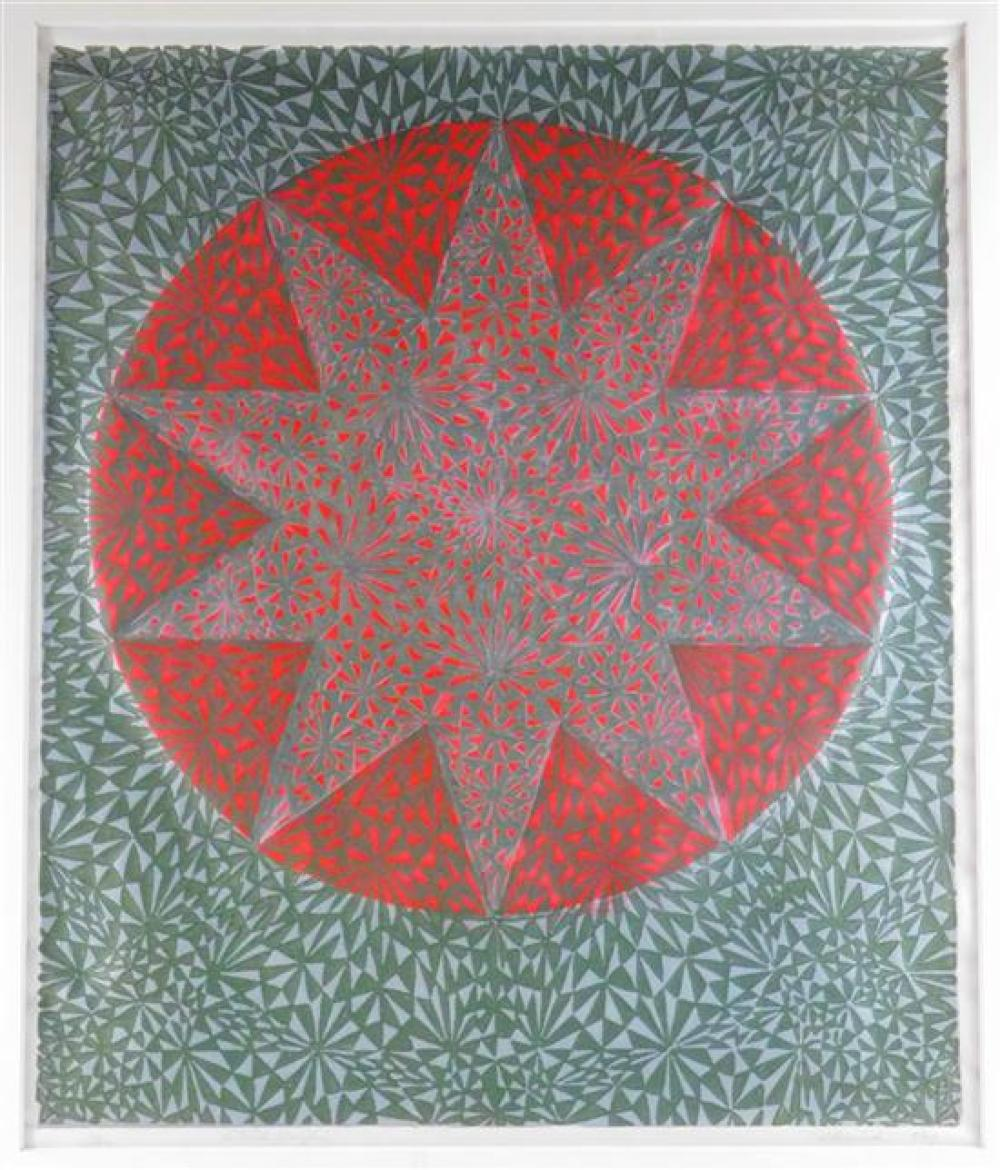 "Four 20th C. framed pieces, the first a Mid-Century colored block print, ""Star,"" Artist's Proof, ed. 5/69, abstract geometric patter.."