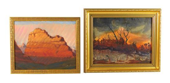 Two oil landscape paintings, one oil on panel, a southwestern red rock outcrop, stylized diagonal brushstrokes make up composition,...