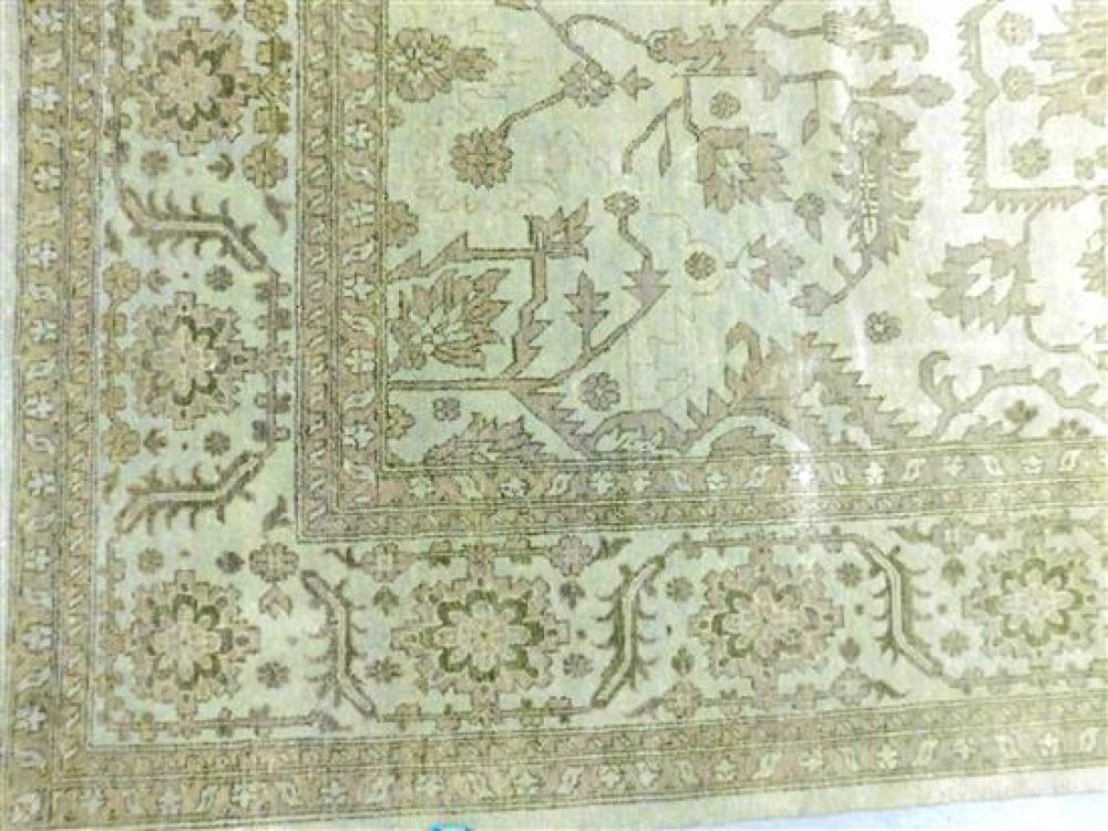 """RUG: Agra Serapi, 10' x 14' 2"""", light grey field and wide border, warm grey accents, monochome design, wear consistent with age and.."""