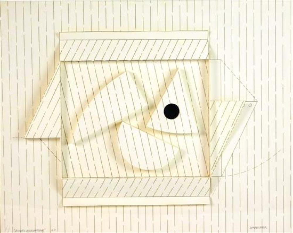 """Werner Pfeiffer (German/American, b. 1937), """"Boxed Elevation"""", 1983, three-dimensional mixed media construction of etching, collage,..."""