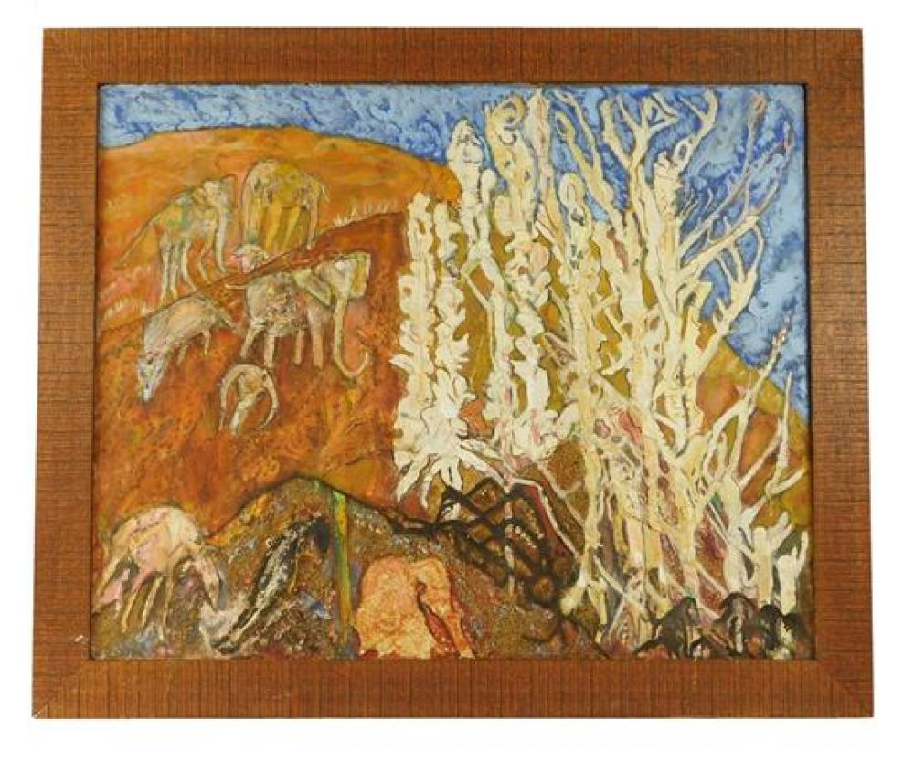 """Gluck Sandor (American, 1899-1978), """"Stone-Age Elephants"""", oil and mixed media on canvas, depicts abstracted red sand desert scene w..."""