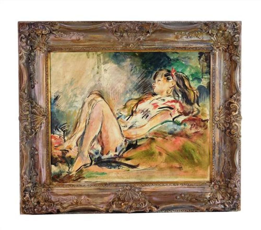 Levitt Purdy (American, 1902-1962), oil on canvas, reclining woman in colorful dress, red ribbon in her hair, she reposes against ma...