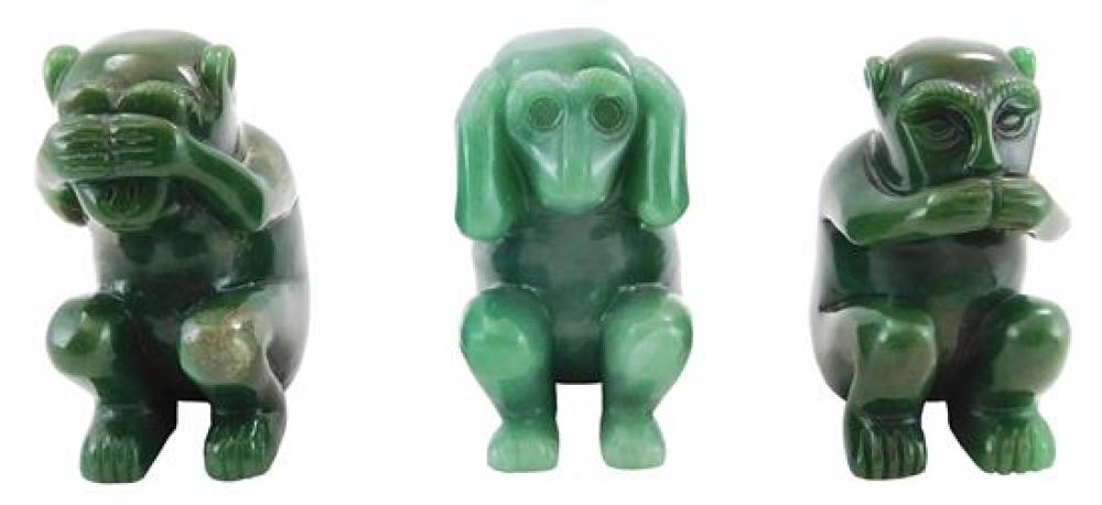 """Carved hardstone animals and figure, 20th C., six pieces, including: largest of elephant and calf, scratches to trunk, tag with """"Mad..."""