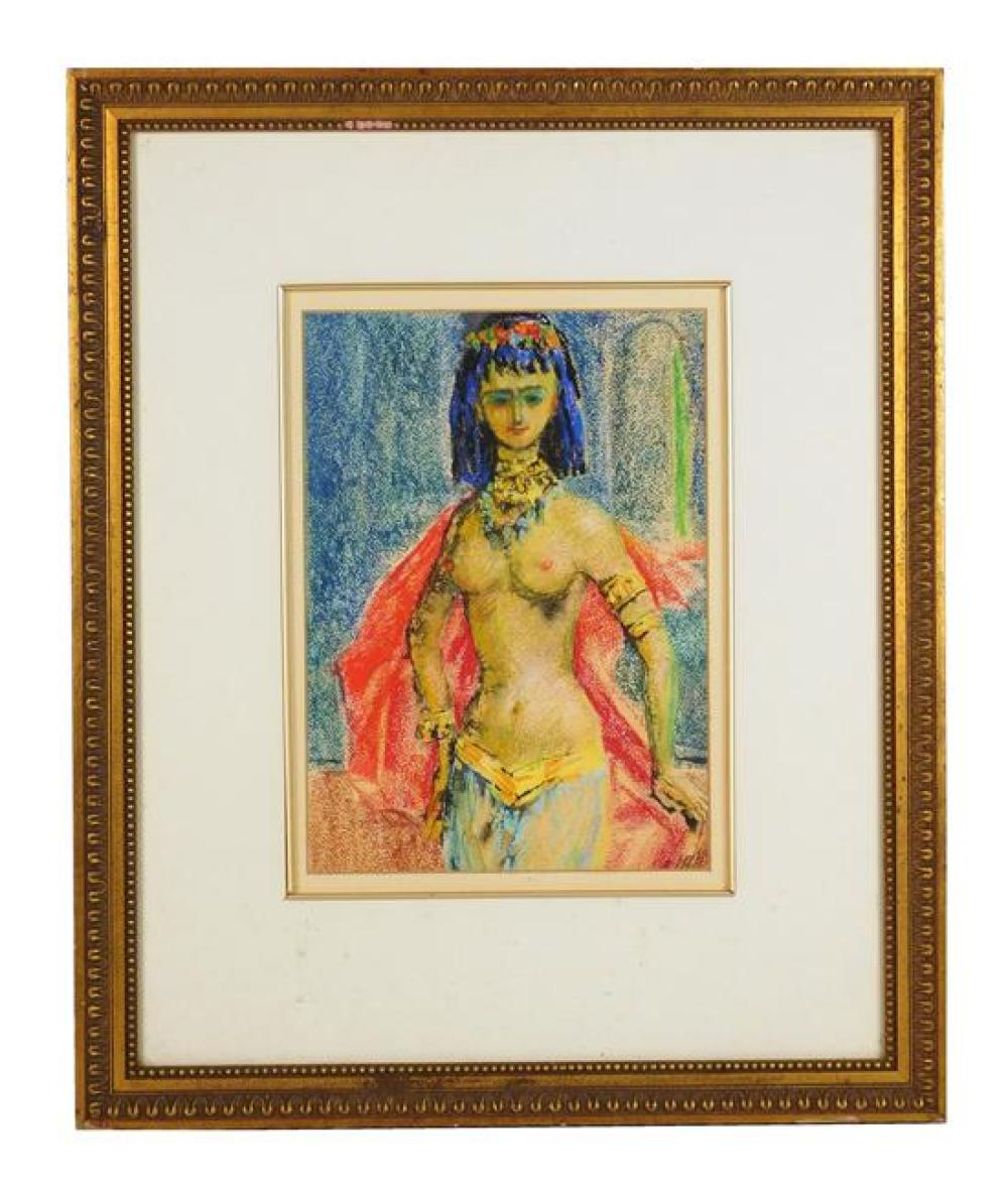 """Josephine """"Jerome"""" Sands (American, 20th C.), crayon drawing on paper, Cleopatra-like figure adorned in Egyptian wear, bare chested..."""