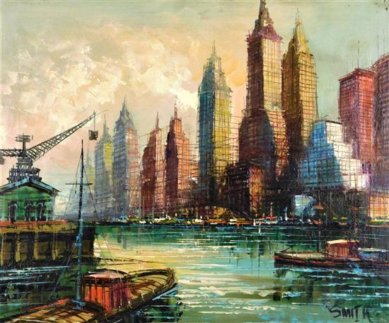 Mid-century Manhattan scene, oil on canvas, many skyscrapers line water's edge, harbor in foreground, heavy use of stylized grid-lik..