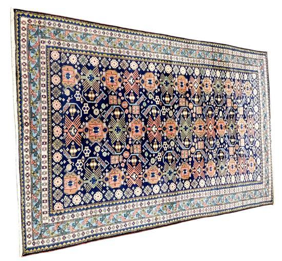 """RUG: Persian tribal, 11'3"""" x 7'3"""", navy field with geomeric pattern, wool on cotton, wear consistent with age and use, including min."""