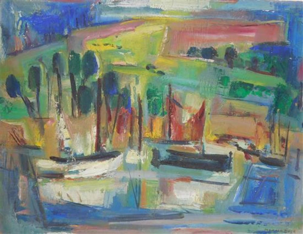 """Marion Huse (American, 1896-1967), three unframed oil on boards: """"Summer In The Park"""", oil on cardboard, unsigned, viewer overlooks ..."""