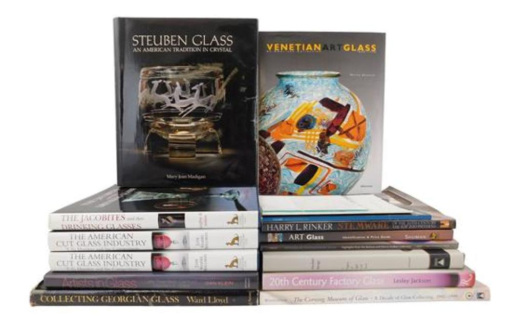 """BOOKS: Twelve books on antique glass, including: """"The American Glass Industry"""" by Hawkes; """"The American Cut Glass Industry"""" by Spill..."""