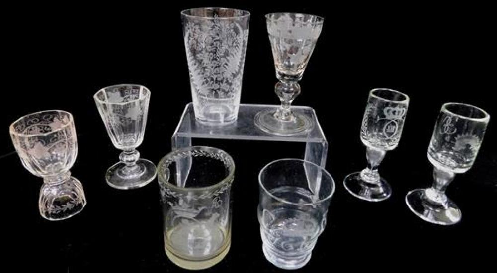GLASS: Eight blown glasses, mostly European, 19th and 20th C., various sizes and forms, including four pieces stemware, three tumble...