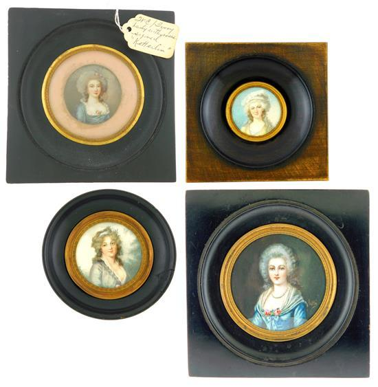 """MINIATURE: Four Women on round supports, all signed; the largest with powdered wig, blue gown signed Vallé center right, ss: 2 5/8""""..."""