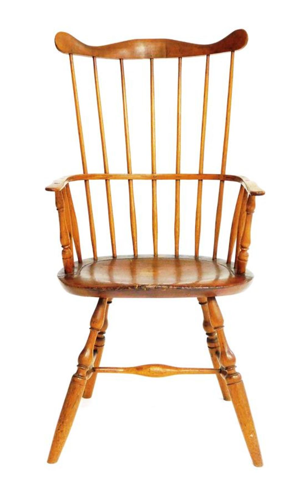 Windsor high comb back armchair, New England, c. 1770, serpentine crest over seven spindle back, continuous arm rail with turned vas...
