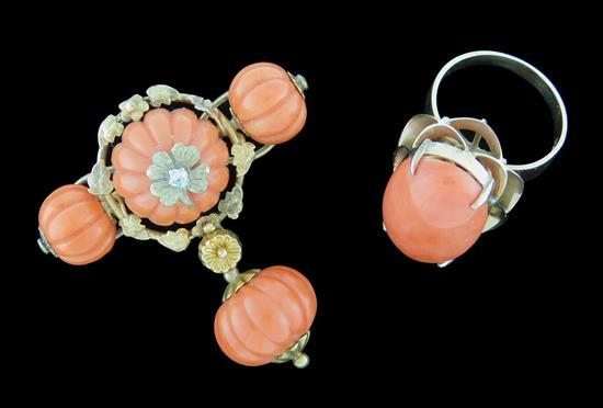 JEWELRY: 18K Coral Brooch and Ring: Victorian coral brooch tested 18K yellow gold, set with four carved pumpkin shaped salmon colore...