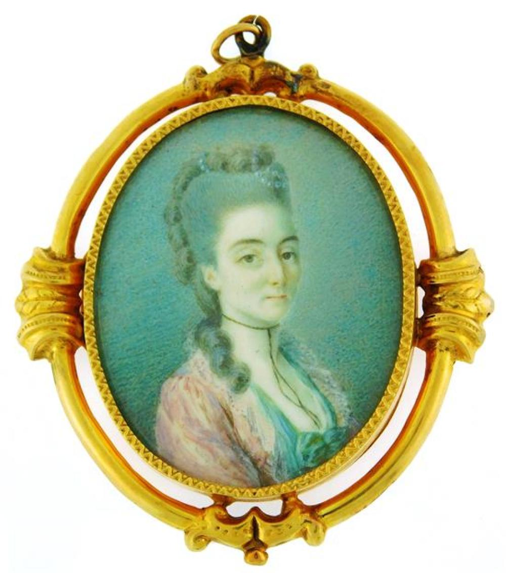 MINIATURE: Portrait of an 18th C. lady with elaborate powdered hairstyle, housed in tested 14K frame, watercolor on oval support, po...