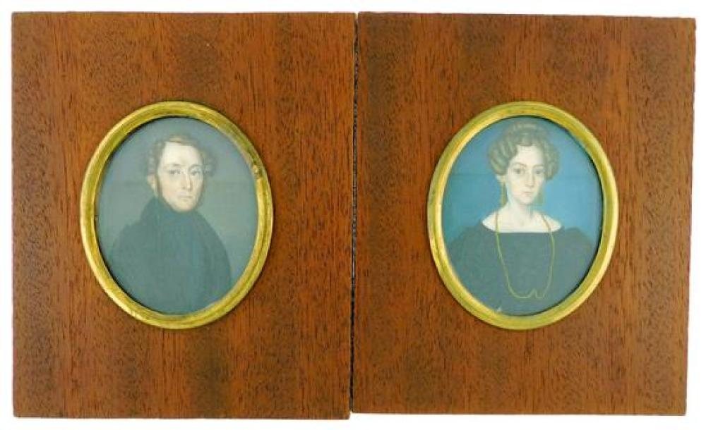MINIATURE: Man and Woman, oval supports, both appear to be ivory, likely husband and wife, man with black jacket and cravat, brown h...