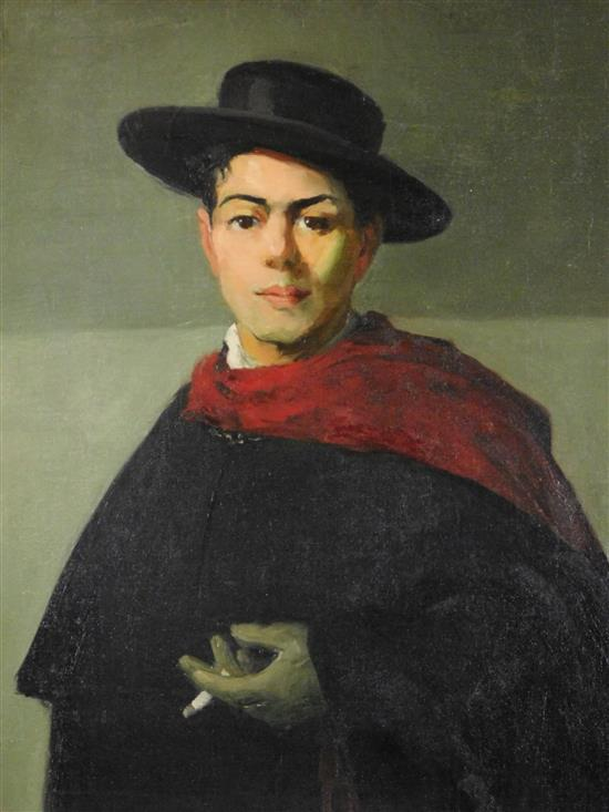 "Cornelia Cowles Vetter (Connecticut, 1881-1959), ""Cuban Boy"", oil on relined canvas, young man in large dark coat, flat brimmed hat,..."