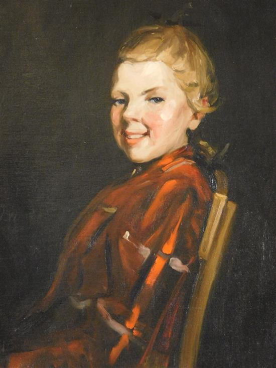 """Cornelia Cowles Vetter (Connecticut, 1881-1959), """"Paper Girl"""", oil on relined canvas, young girl sits in a chair facing left, her he..."""