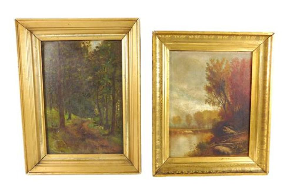 Two unsigned framed landscape paintings, one oil on board depicting a deep-toned forest path through tall pine trees, sticker painte...