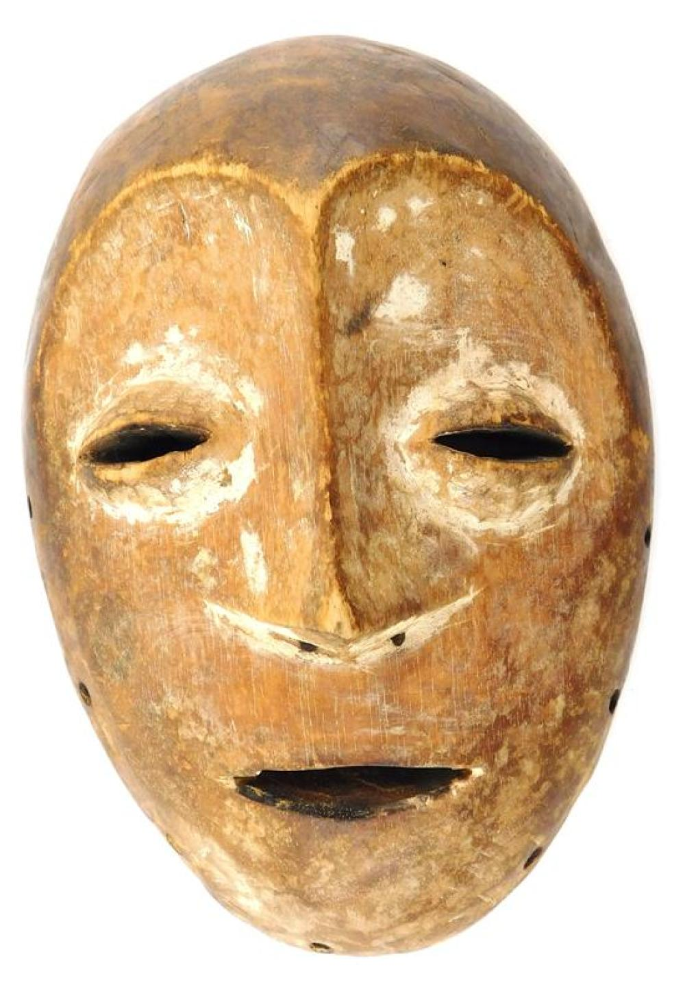 TRIBAL: Three Lega style masks, 20th C., details include: largest with elongated features, white face, red mouth, pierced border, wo...