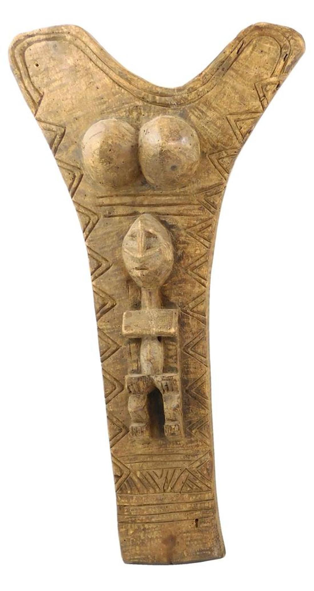 TRIBAL: Two architectural carvings including one Dogon type, 20th C., African, carved wood, details include: Y-shaped Dogon type arc...