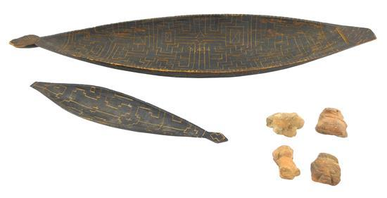 TRIBAL: Two Oceanic type carved bowls along with four South American clay fragments, details include: similar larger and smaller can...