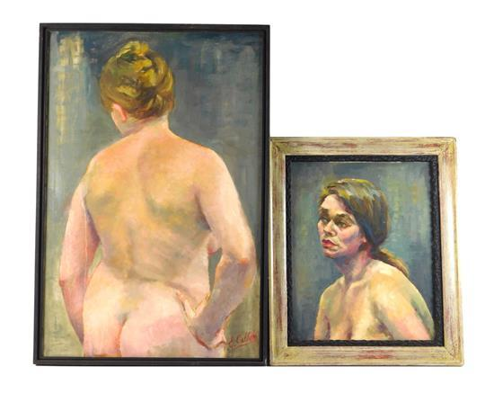 Emily Callari (American, 1925-2013), two oils on canvas, one a portrait of a blonde woman from shoulders up against slate blue backg...