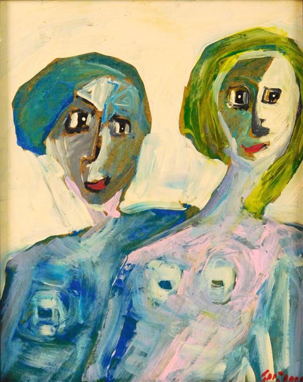 "Juan Guzman-Maldonado (American/Chile, b. 1948), acrylic on board, ""Marlo x Carla"", two nude women depicted from the waist up, one w..."