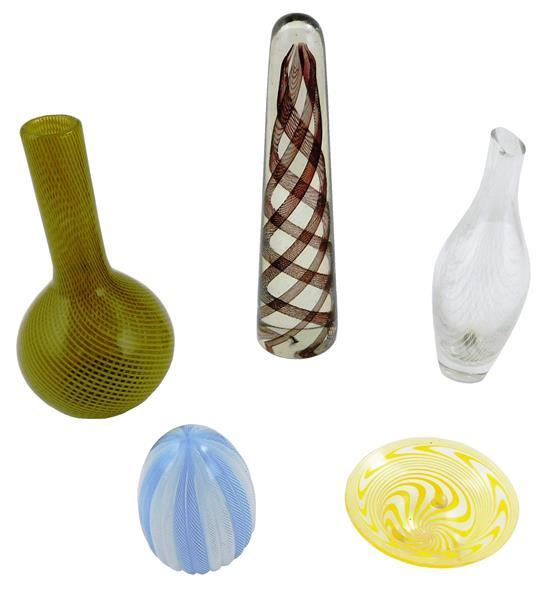 ART GLASS: Five pieces of Venetian glass with latticino decoration, Italian, 20th C., including: bud vase with yellow-green reticell...