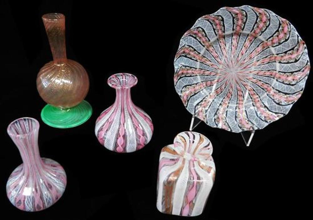 ART GLASS: Five pieces of Venetian glass with pink latticino decoration, Italian, 20th C., including: pink bud vase with orb bowl ov...