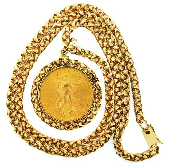 "JEWELRY: 14K Coin Pendant with chain, pendant: stamped and tested 14K yellow gold rope edge coin frame with bale, diameter: 1 ¾"", fr..."