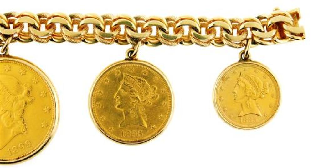 JEWELRY: 14K Gold Coin Bracelet with box safety clasp, stamped and tested 14K yellow gold with polished and textured double links, b...