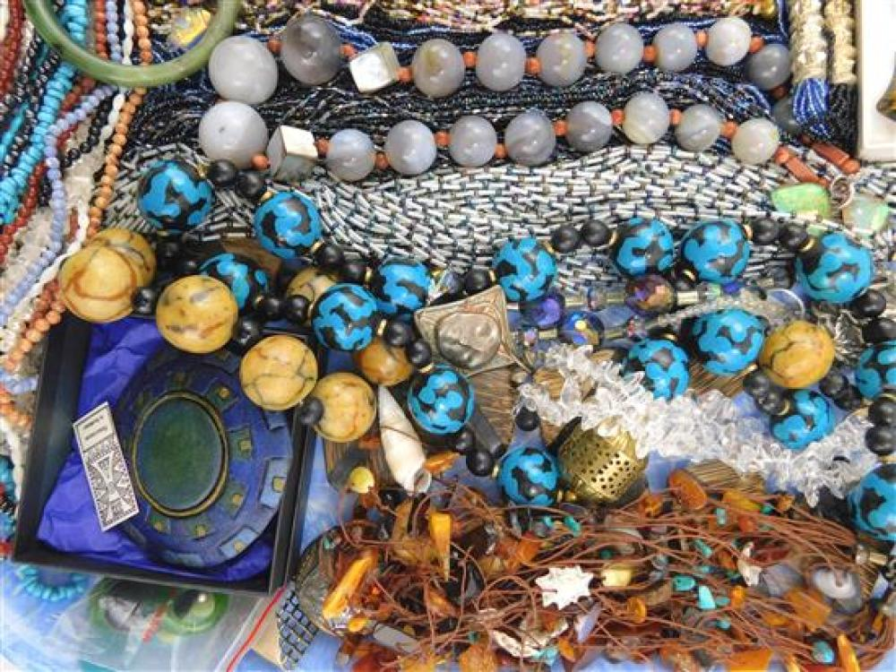 COSTUME JEWELRY: 60+ pieces of necklaces, bracelets and earrings, materials include art glass, wooden and shells beads, dichroic gla...