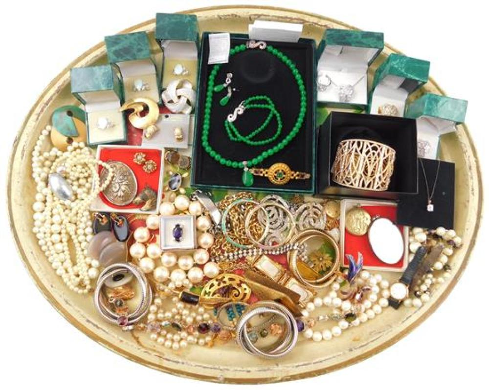 COSTUME JEWELRY: Givenchy, Suzanne Somers, Reed & Barton, Kirks Folly, Adrienne, etc., 40+ pieces, materials include sterling, ename...