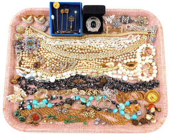 COSTUME JEWELRY: Monet, Coro, Trifari, Betsey Fuller, Haskell, Capri, Graziano, etc., 50+ pieces, materials include freshwater pearl...