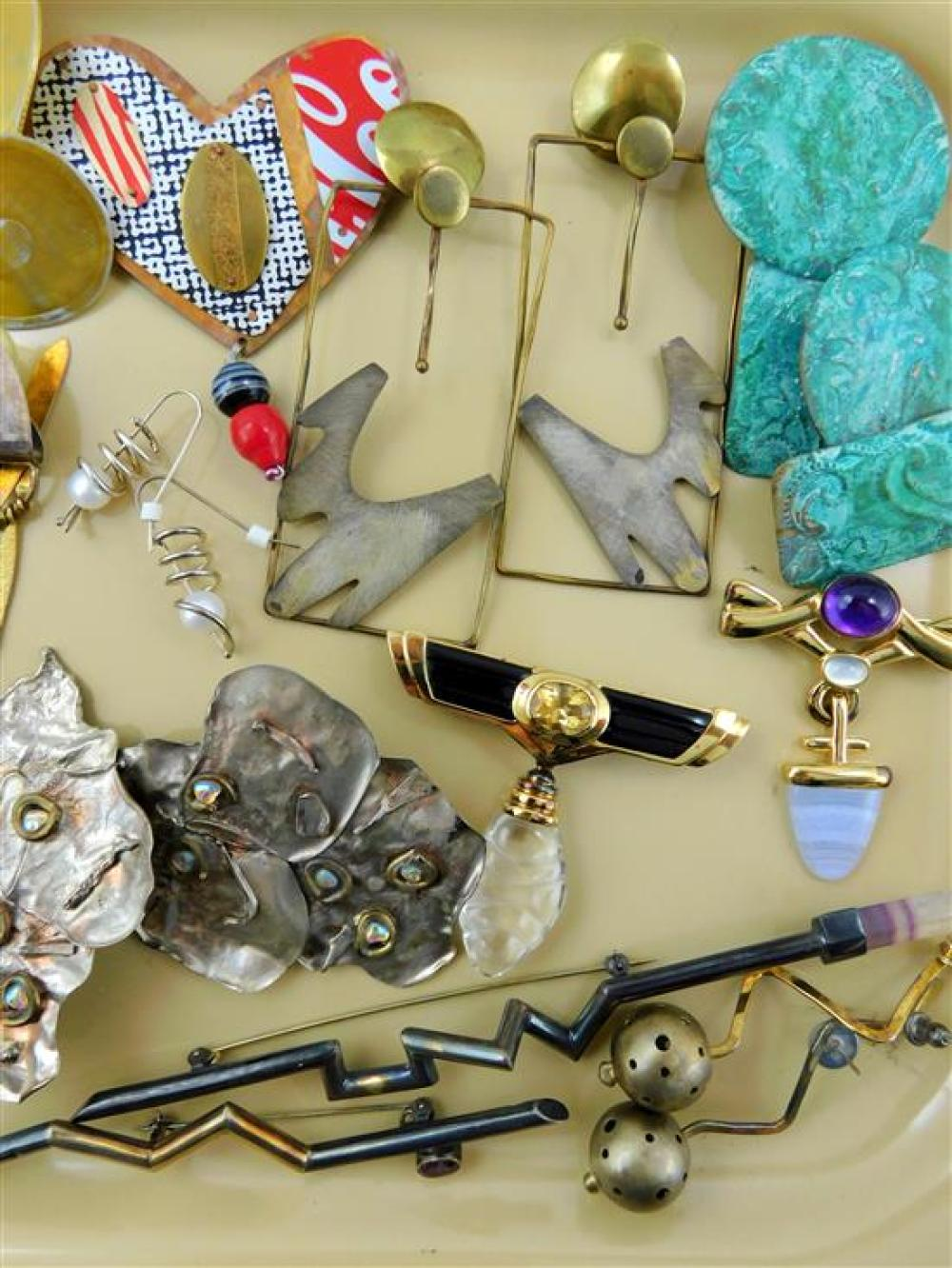 COSTUME JEWELRY: Jorgen Jensen, Kylo, etc., twenty pieces, Modern themed, some marked sterling and with semi-precious stones, detail...