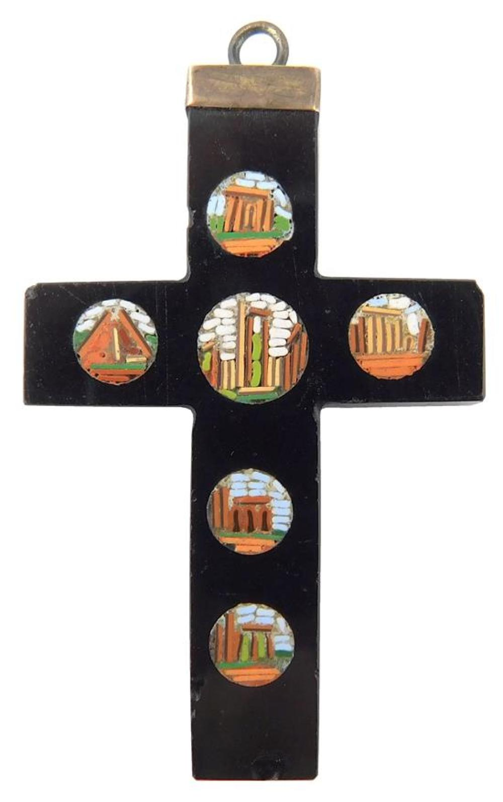 JEWELRY: Micro-mosaic cross pendant, featuring six miniature mosaic depictions of ancient buildings, characteristic columns set agai...