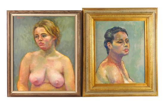 Emily Callari (American, 1925-2013), two oils on canvas, the first a woman in the nude depicted from waist up against light green ba...