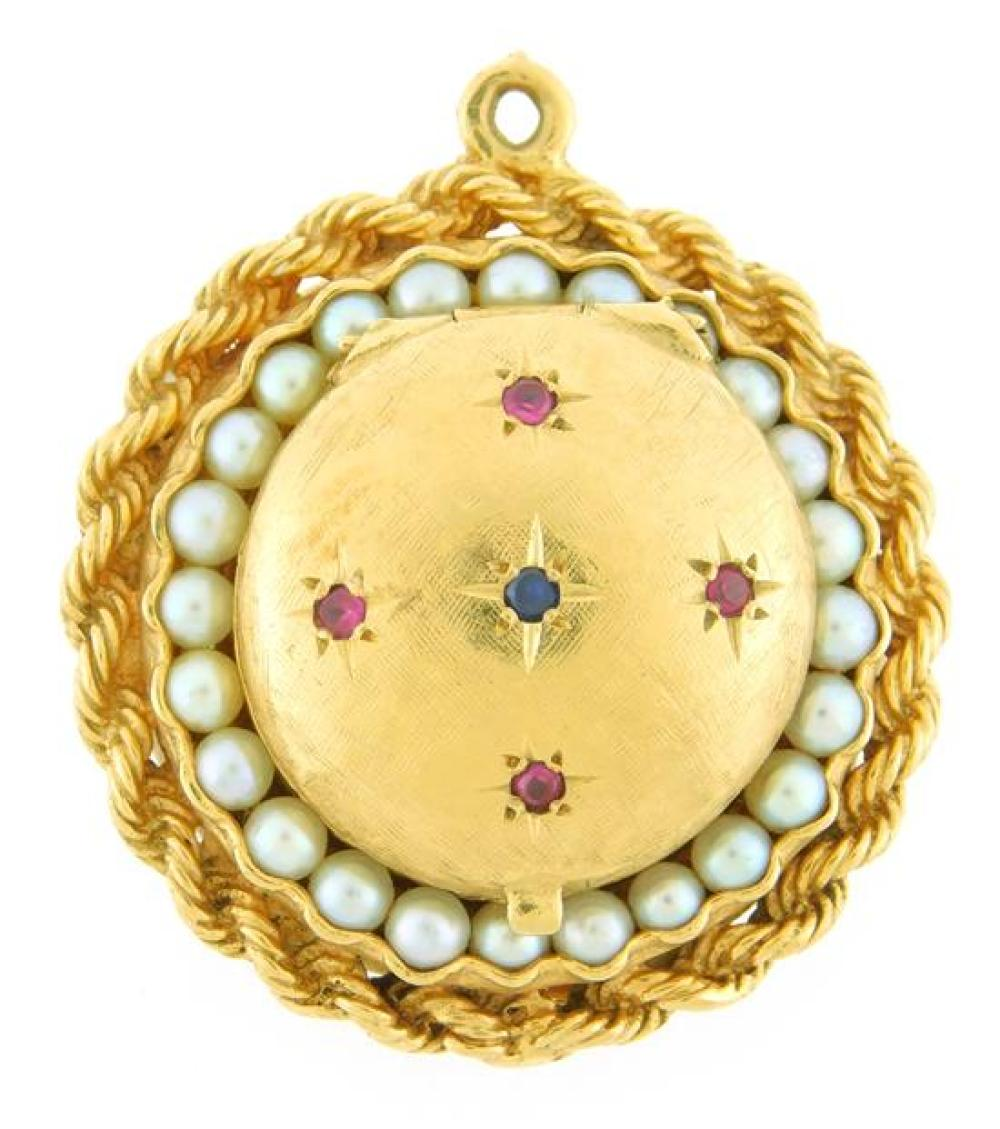 """JEWELRY: Gold and silver jewelry, five pieces, round locket pendant: tested 14K yellow gold with rope chain edge, diameter: 1 ¼"""", se..."""