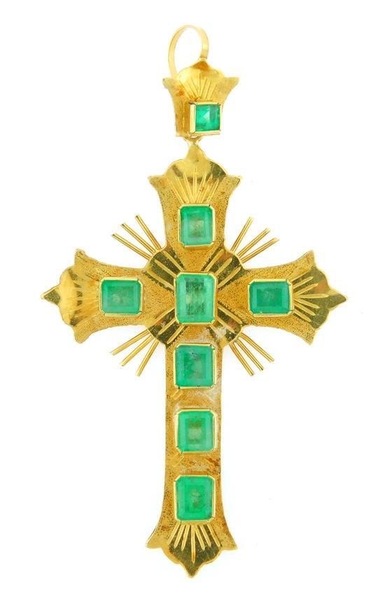 """JEWELRY: 18K Emerald Cross Pendant, setting stamped and tested """"18K"""" yellow gold, cross and bale are set with eight emerald cut natu..."""