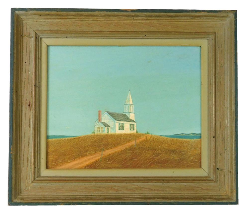 """John P. Wheat (American, Connecticut, 1920-1980), oil and tempera on board, """"Church by the Sea"""", white New England-style church with..."""